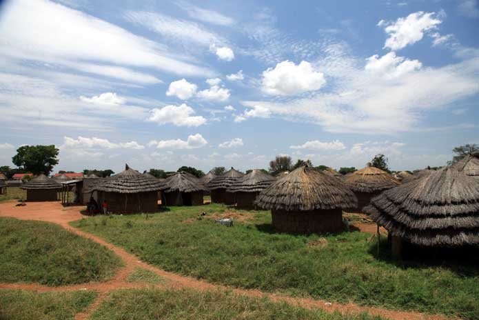 Rural village huts in Uganda