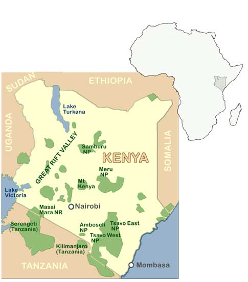 Africa map showing context of South Africa