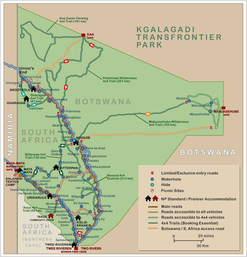 Botswana South Africa Map.Kgalagadi Transfrontier Park Map Links To Travel Information Camps