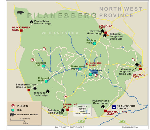 Map of Pilanesberg Game Reserve
