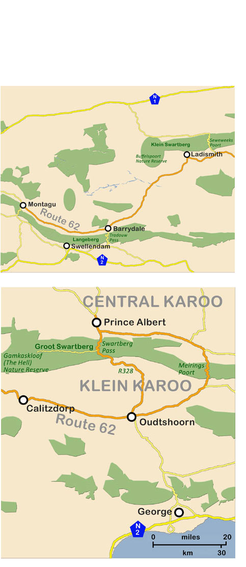 Map Of Route 62 South Africa.Route 62 To The Klein Karoo From Montagu To Oudtshoorn Cango Caves