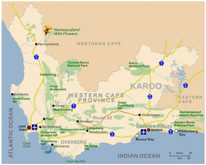 Map Of Route 62 South Africa.Western Cape South Africa Beaches Winelands And Adventure Activities