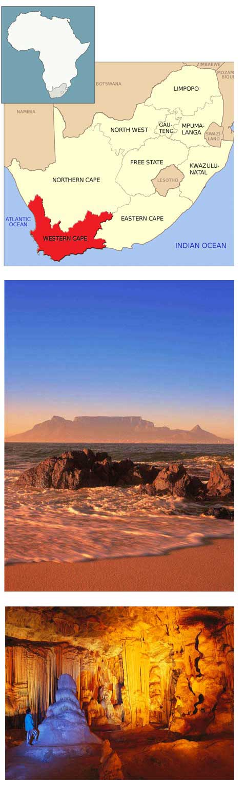 Western Cape location map and scenic views