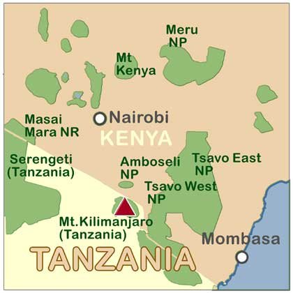Tanzanias Mount Kilimanjaro Maps Routes Facts And Photos - Africa map kilimanjaro