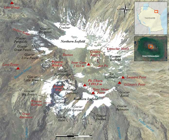 Where Is Mount Kilimanjaro On A Map Of Africa.Tanzania S Mount Kilimanjaro Maps Routes Facts And Photos