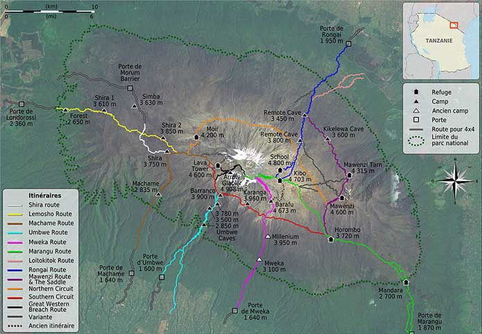 Mt Kilimanjaro On World Map.Tanzania S Mount Kilimanjaro Maps Routes Facts And Photos