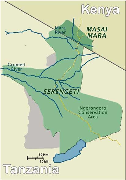 Serengeti and Masai Mara - route of the migration