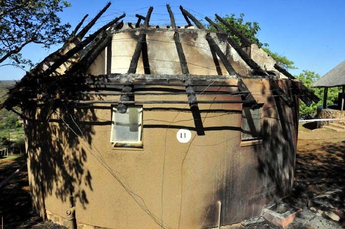Olifant Camp - bungalow destroyed by fire